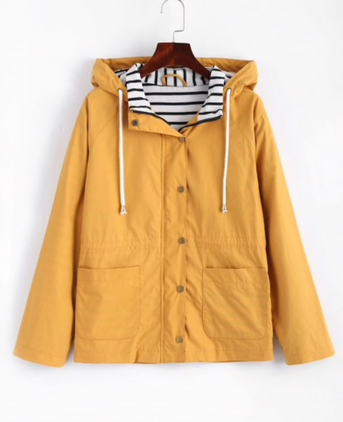 jacket girly yellow yellow coat hoodie button up