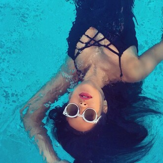 swimwear one piece swimsuit summer summer outfits shay mitchell instagram sunglasses