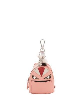 bag charm fur fox bag leather pink