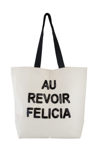 bag bye felicia tote bag school bag black and white sequins