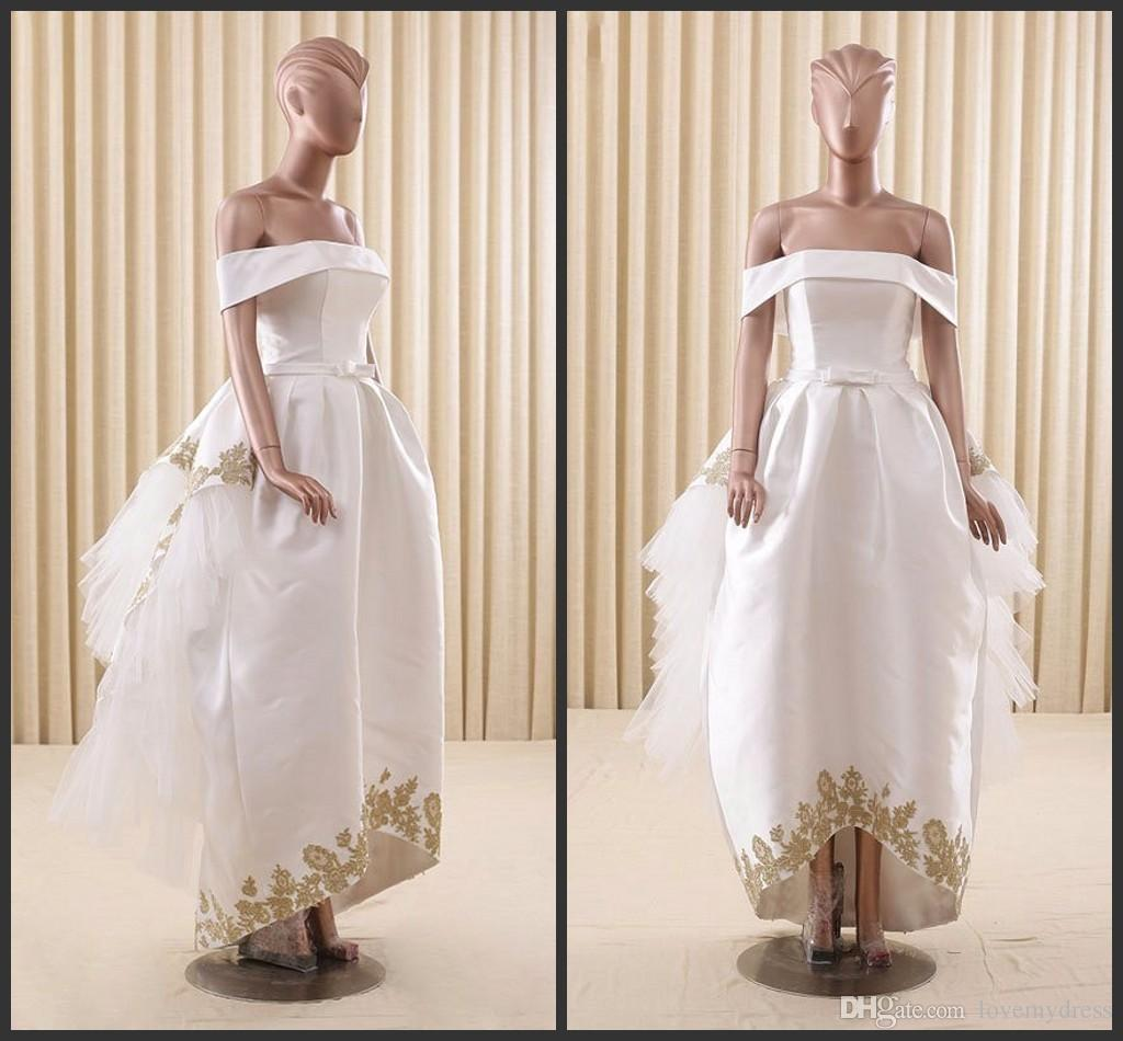 Asymmetrical Wedding Gown Cheap Off Shoulder Neck Lace Up Back ...