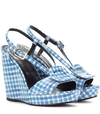 sandals wedge sandals leather blue shoes
