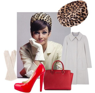 top audrey hepburn hat gloves coat