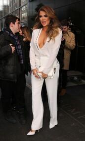blouse,pants,khloe kardashian,white,pumps