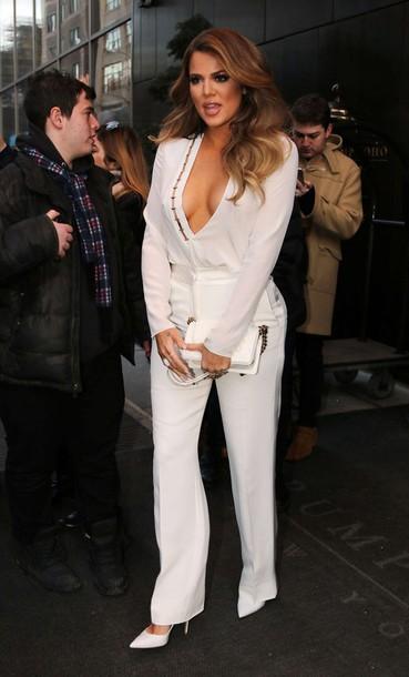 blouse pants khloe kardashian white pumps