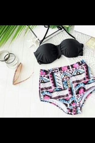 swimwear bikini high waist waisted aztec boho bohemian ethnic pattern black pink colorful summer spring beach pool swimming hot holidays teenagers girl cute tumblr