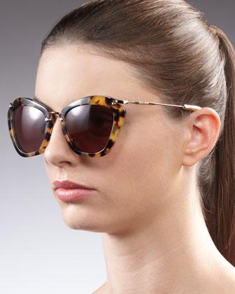 Miu Miu Catwalk Sunglasses, Yellow Havana - Neiman Marcus
