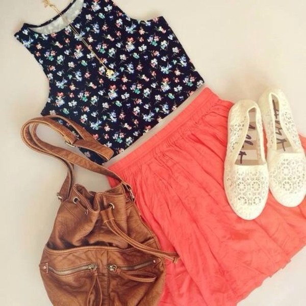 tank top bag shoes skirt top brown purse cute shirt summer outfits dress