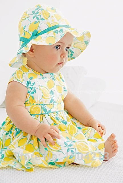 ed4f696ab81 Aliexpress.com   Buy 2015 summer style baby girl dress vest lemon pattern  floral dress sun hat 2 sets baby clothes next clothing bebe free shipping  from ...