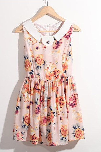 Flower Print Sleeveless Dress with Mini Length - OASAP.com
