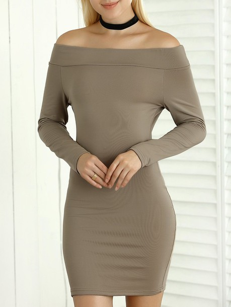 dress long sleeves long sleeve dress off the shoulder off the shoulder dress bodycon bodycon dress