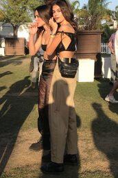 pants,top,crop tops,kaia gerber,model off-duty,festival,coachella,music festival