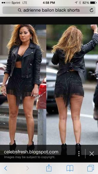 shorts little black dress style fringe black skirt fringes black pants jacket