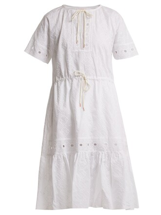 dress geometric cotton white