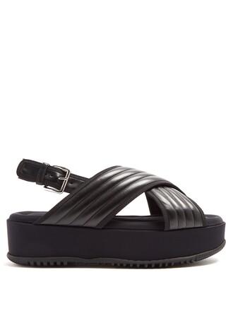 cross quilted sandals flatform sandals leather black shoes