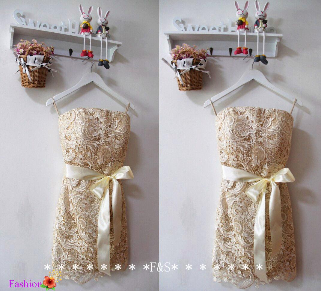 Champagne Lace Bridesmaid Dress Short Lace Dress y