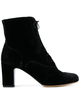 women boots ankle boots lace leather suede black velvet shoes