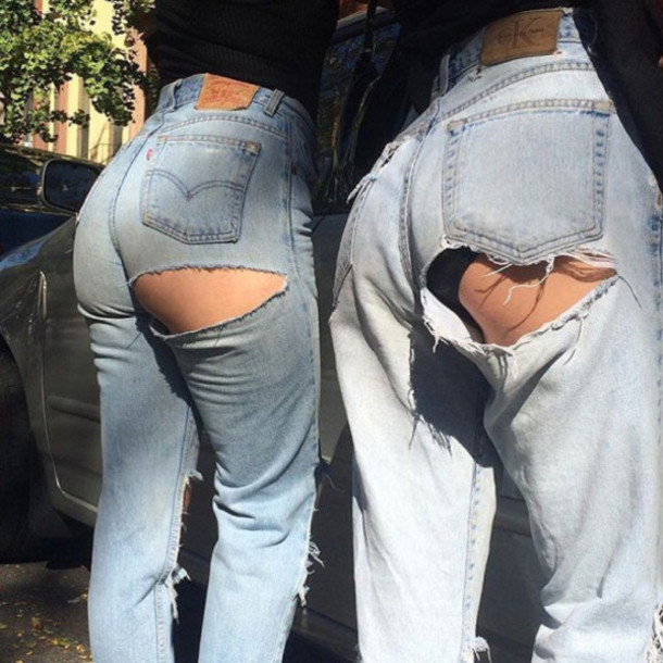 jeans ripped ripped jeans boyfriend jeans hole jeans grunge hipster tumblr dope indie boho ripped jeans denim cut out jeans blue jeans blue cheeky jeans