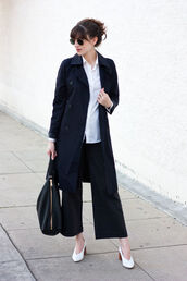 jeans and a teacup,blogger,coat,pants,shirt,shoes,sunglasses,bag,navy coat,trench coat,spring outfits,black pants,handbag,spring work outfit