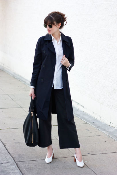 jeans and a teacup blogger coat pants shirt shoes sunglasses bag navy coat trench coat spring outfits black pants handbag spring work outfit