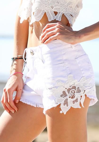 Trimmed denim shorts