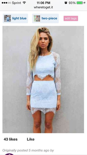 dress skirt blue dress lace dress two piece dress set blonde hair blue and white blue and white dress romantic summer dress romantic dress periwinkle bue lace formal