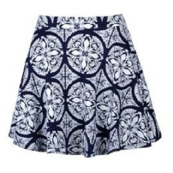 blue and white blue white skirt skater short tile print pattern high waist skirt