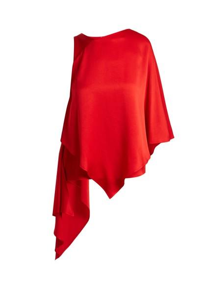 Osman top layered satin red