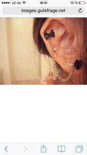 jewels,golden earphones,helix piercing,ribbon earrings