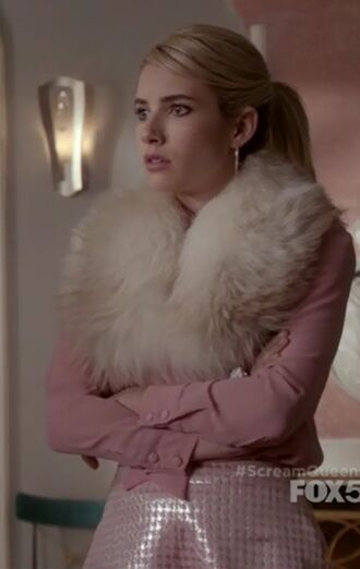 shorts emma roberts chanel oberlin scream queens pink blouse