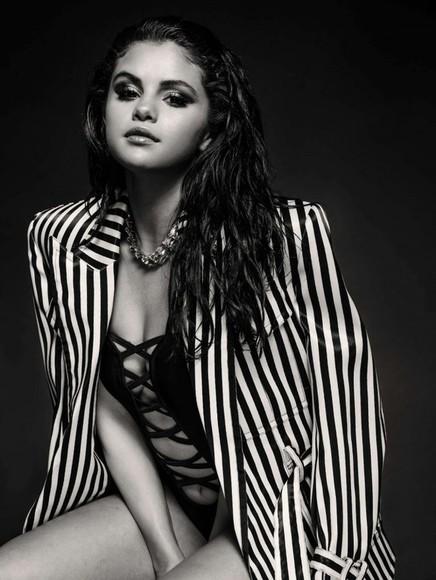 selena gomez jacket blazer stripes