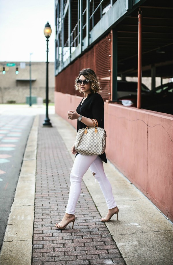life & messy hair blogger shoes sunglasses top bag jewels jeans louis vuitton bag sandals high heel sandals white jeans