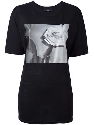 t-shirt shirt rose women print black top