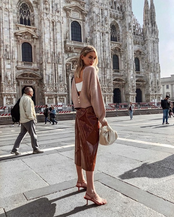 sweater knitted sweater knitwear backless sandals high heel sandals midi skirt vinyl skirt handbag