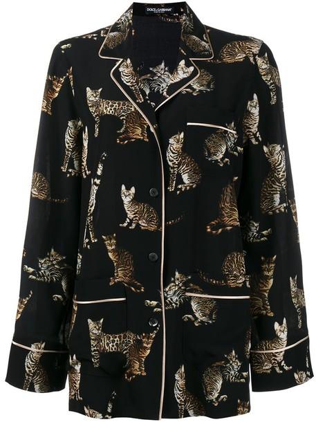 Dolce & Gabbana top women print black silk