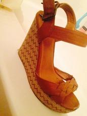 shoes,black poppy,brown,heels,wedges,pacsun,brown wedges,braided sandles