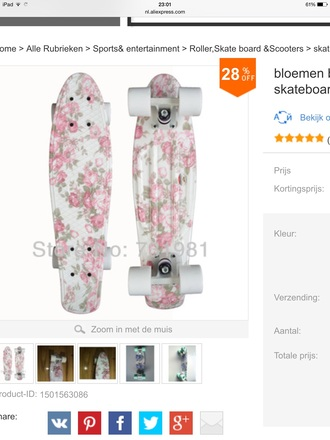 home accessory skateboard floral cute penny board
