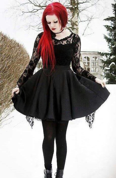 dress noir robe goth black dentelle short punk emo