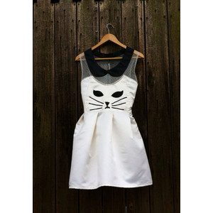 Handmade Kawaii Kitty Cat Dress- White - Polyvore
