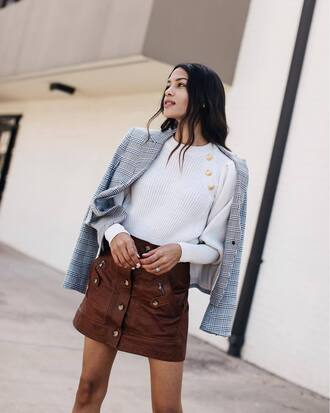 skirt white sweater grey jacket tumblr mini skirt leather skirt button up sweater jacket