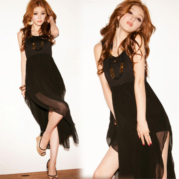 Dress Black Dress Little Black Dress Sheer Skirt Empire Waist