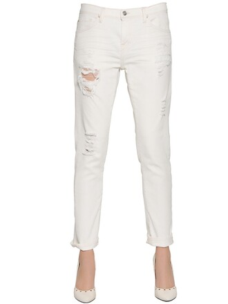 jeans denim boyfriend cotton white