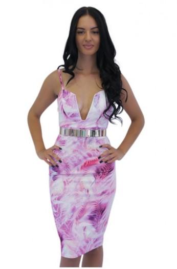 Pink floral bodycon v plunge neck midi dress