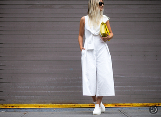 the fashion guitar blogger white jumpsuit yellow bag