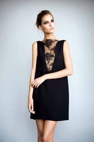 dress sheer black lace lace dress front lace cut out dress front lace detailed dress little black dress floral lace minimalist shift dress