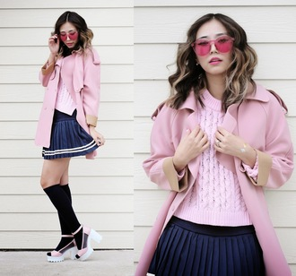 different cands blogger pink coat pink sweater pleated skirt knee high socks navy cleated sole platforms pink sunglasses sweater skirt shoes