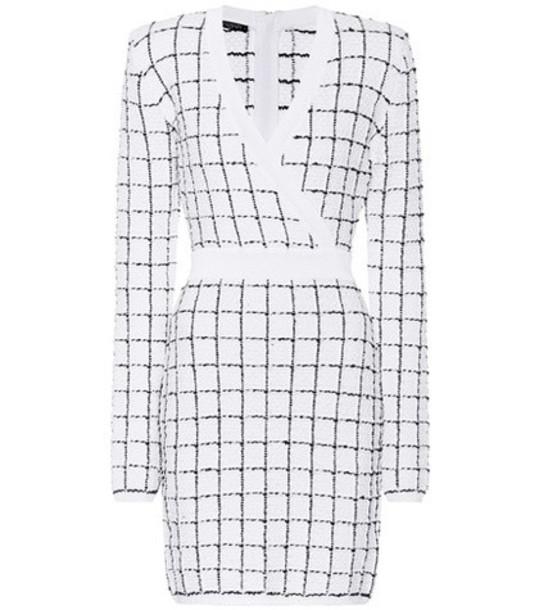 Balmain Checked tweed dress in white