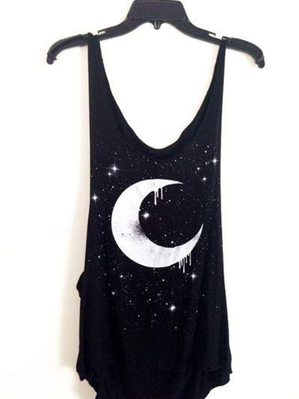 t-shirt clothes blouse black moon tank top