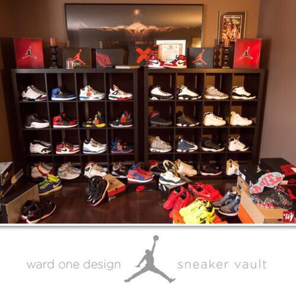 Home accessory the wardrobe shoes jordans black room for Jordan bedroom ideas