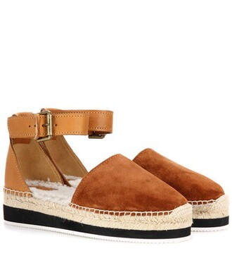 fur espadrilles leather suede brown shoes